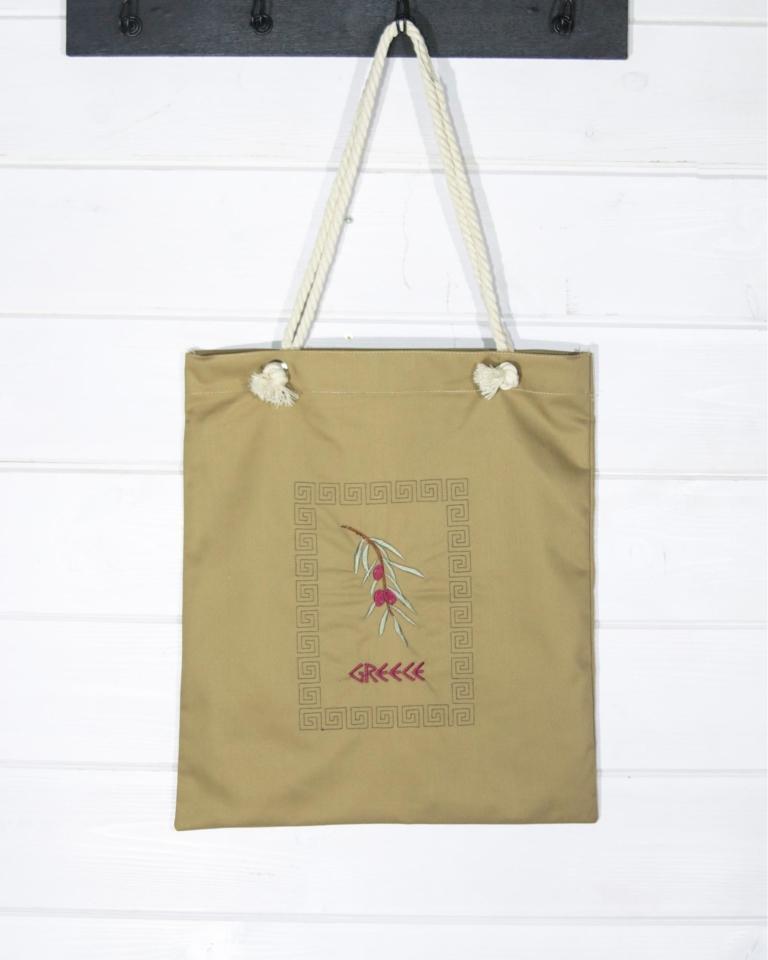 """Τσάντα αγορών """"Μαίανδρος και κλαδί ελιάς"""""""